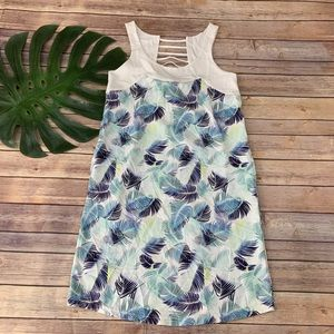 Carve Designs blue tropical palm dress w pockets
